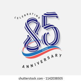 85 years Anniversary ribbon shape numbers with swoosh. Celebrating 85  years anniversary event party template.