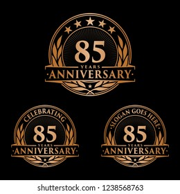 85 years anniversary set. 85th celebration logo collection. Vector and