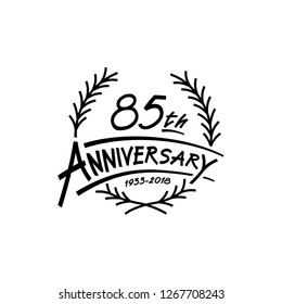 85 years design template. Vector and illustration. 85 years logo.