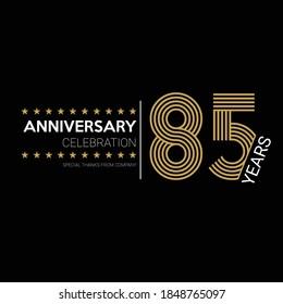 85 years old celebrating logo. happy anniversary 85th. Greetings celebrates.