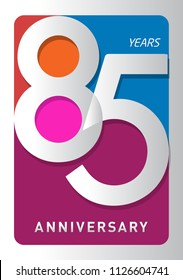 85 years old celebrating modern logo. Colored happy anniversary template numbers. vector design for celebration, invitation card, and greeting card