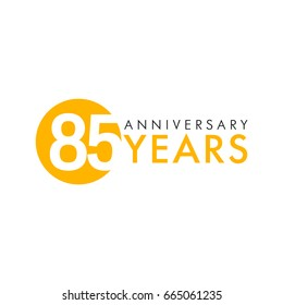 85 years old logo. Celebrating anniversary, congratulating vector numbers. Greetings of 85th idea. Colored traditional digital logotype of ages or % off.