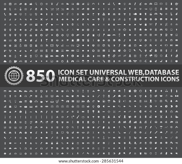 850 Icon set,Universal website,Construction,industry,Business,Medical,healthy and ecology icons