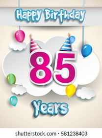 85th Birthday Celebration Design With Clouds And Balloons Greeting Card Invitation For