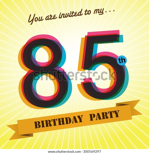 85th Birthday Party Invite Template Design Stock Vector Royalty