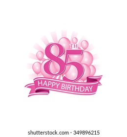 85th Pink Happy Birthday Logo With Balloons And Burst Of Light