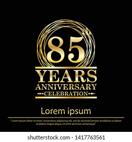 85th years anniversary celebration logo with golden ring elegant isolated on black background, vector illustration template design for celebration, invitation card, and greeting card