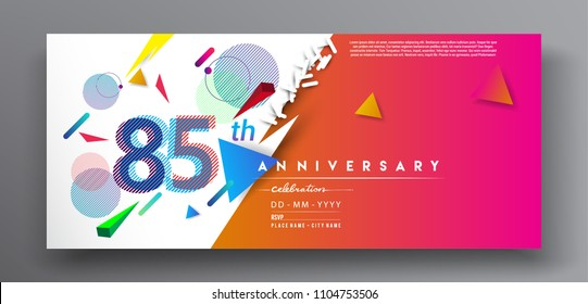 85th years anniversary logo, vector design birthday celebration with colorful geometric background and circles shape.