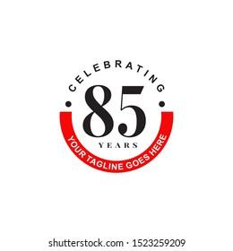 85th years celebrating anniversary emblem logo design illustration icon vector template