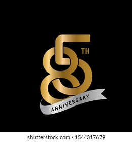 85th years gold anniversary celebration simple logo, isolated on dark background. celebrating Anniversary logo with elegance golden color vector design for celebration,