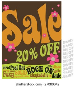 8.5x11 Seventies Style Sales Flyer/Poster with interchangeable discounts