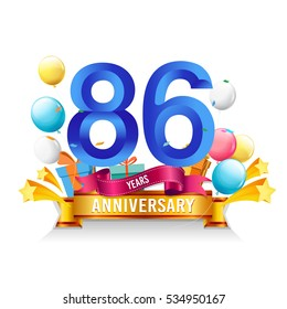 86 Years Anniversary celebration logo, birthday vector illustration, with gift box and balloons, colorful polygonal design.