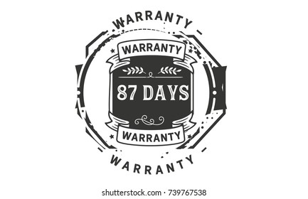 87 days warranty icon vintage rubber stamp guarantee