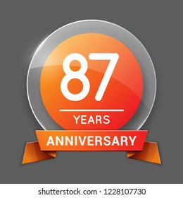 87 / Eighty Seven Years Anniversary Logo with Glass Emblem Isolated. 87th Celebration. Editable Vector Illustration.