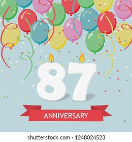 87 years selebration. Happy Birthday greeting card with candles, confetti and balloons