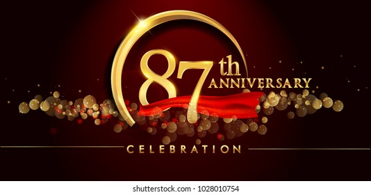 87th anniversary logo with golden ring, confetti and red ribbon isolated on elegant black background, sparkle, vector design for greeting card and invitation card