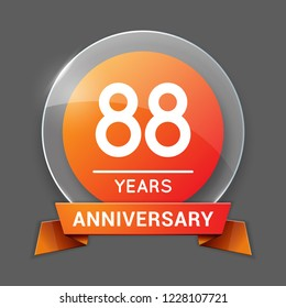 88 / Eighty Eight Years Anniversary Logo with Glass Emblem Isolated. 88th Celebration. Editable Vector Illustration.