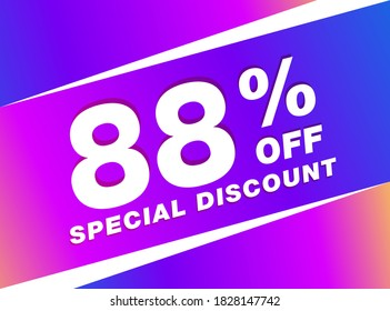 88% OFF Sale Discount Banner. Discount offer price tag. 88% OFF Special Discount offer