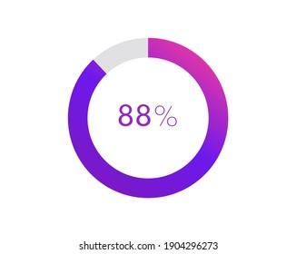 88 percent pie chart. Circle diagram business illustration, Percentage vector infographics