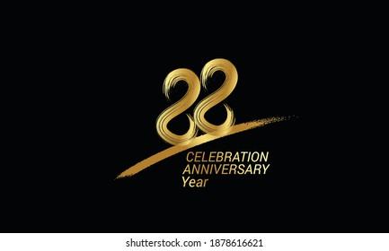 88 year anniversary chalk, golden ink Style , minimalist logo. years, jubilee, greeting card. Birthday invitation sign. Black space vector illustration on black background - Vector