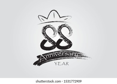 88 year anniversary chalk, ink Marker Pen Style, years, jubilee, greeting card. Birthday invitation sign. Black space vector illustration on white background - Vector