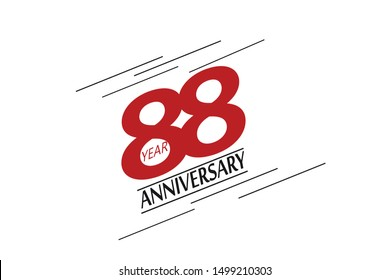 88 year anniversary, minimalist logo, greeting card. Birthday invitation. 88 year sign. Red space vector illustration on white background - Vector