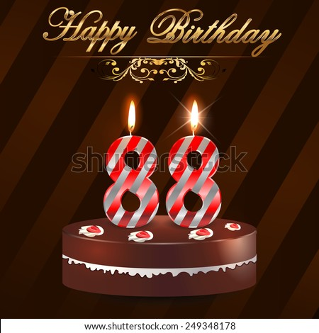 88 Year Happy Birthday Card With Cake And Candles 88th
