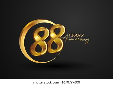 88 Years Anniversary Celebration. Anniversary logo with ring and elegance golden color isolated on black background, vector design for celebration, invitation card, and greeting card