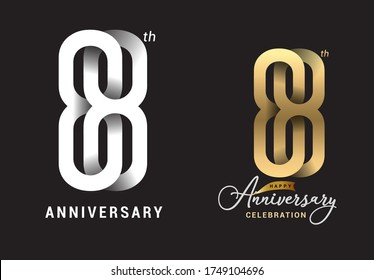 88 years anniversary celebration logo design. Anniversary logo Paper cut letter and elegance golden color isolated on black background, vector design for celebration, invitation card
