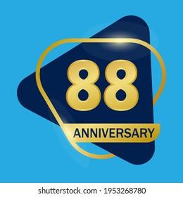 88 years anniversary celebration logo vector template design illustration