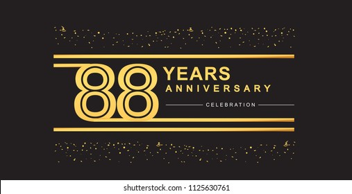 88 years anniversary celebration logotype with golden multiple line and confetti golden color isolated on black background, vector design for greeting card and invitation card