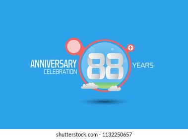 88 years anniversary design with pop art style red circle and cloud isolated on blue background for party, birthday and celebration
