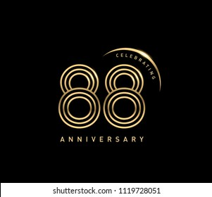 88 years anniversary logotype with swoosh line golden color for celebration. Anniversary logo with ring and elegance golden color isolated on black background