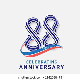 88 years Anniversary ribbon shape numbers with swoosh. Celebrating 88  years anniversary event party template.