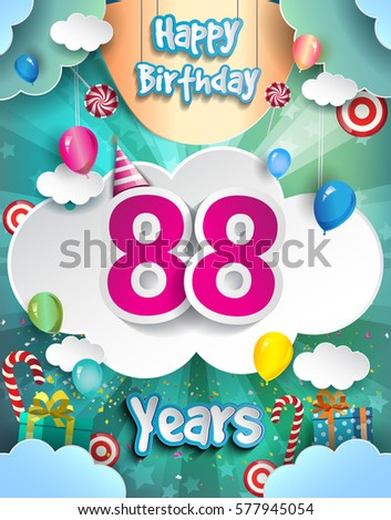88 Years Birthday Design For Greeting Cards And Poster With Clouds Gift Box