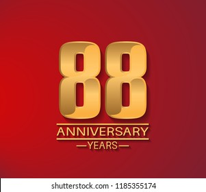 88 years golden shiny anniversary simple design with red background. Vector template for company celebration event, greeting card and invitation card