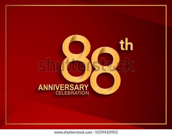 88th anniversary celebration logotype golden color isolated on red color