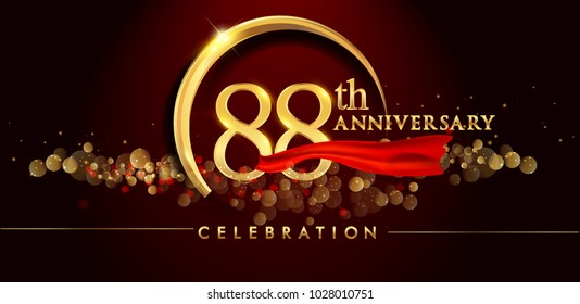 88th anniversary logo with golden ring, confetti and red ribbon isolated on elegant black background, sparkle, vector design for greeting card and invitation card
