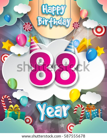 88th Birthday Celebration Greeting Card Design With Clouds And Balloons Vector Elements For The