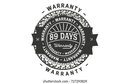 89 days warranty icon vintage rubber stamp guarantee