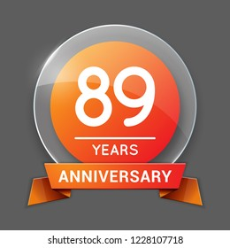 89  / Eighty Nine Years Anniversary Logo with Glass Emblem Isolated. 89th Celebration. Editable Vector Illustration.