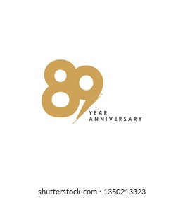 89 Year Anniversary Vector Template Design Illustration