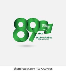89 Year Saudi Arabia Independence Celebration Vector Template Design Illustration