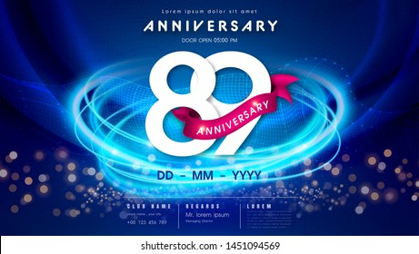 89 years anniversary logo template on dark blue Abstract futuristic space background. 89th modern technology design celebrating numbers with Hi-tech network digital technology concept design elements.