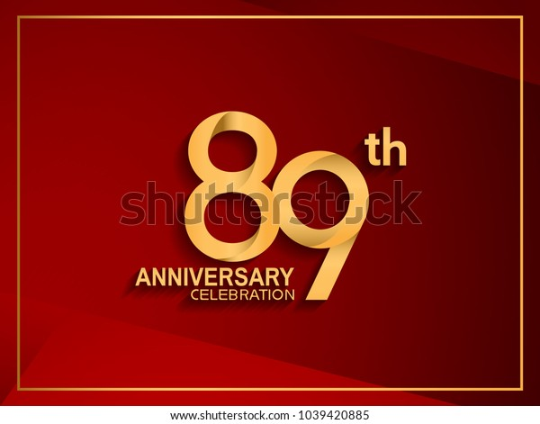 89th anniversary celebration logotype golden color isolated on red color