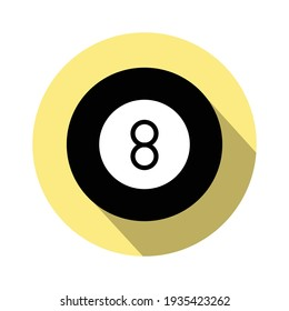 8-ball pool flat vector icon for sports apps and websites