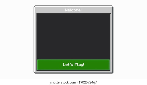 8-bit game entry menu. Color pixel interface game menu isolated on light background. Vector illustration