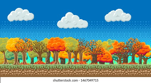8bit indie arcade game scene, blue sky with clouds, 28 different autumn trees with colored leaves, leaf fall.. Details of the game trees, earth, clouds, sky background.