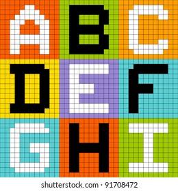 8-Bit Pixel Alphabet Letters Set 1: ABC DEF GHI