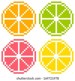 8-bit Pixel Art Citrus Fruit Slices - Orange, Lime, Grapefruit, Lemon. Seamless Background Tile